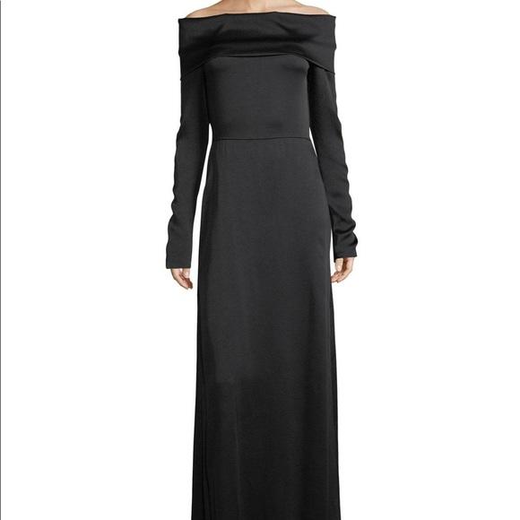 986282fcd52631 Theory Satin off the Shoulder Elegant Maxi Dress. M_5a7200ef72ea887f29110b1b